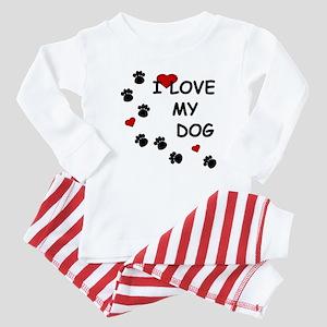 I Love my Dog Paw Prints Baby Pajamas