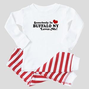 Somebody In Buffalo NY Loves Me Baby Pajamas