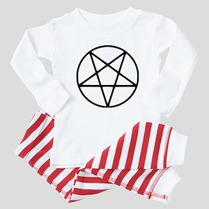 black white pentagram Baby Pajamas