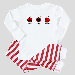 Peace, love, ladybugs Baby Pajamas