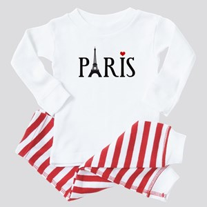 Paris with Eiffel tower and red heart Baby Pajamas