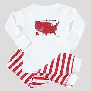 Trump vs Clinton Map Baby Pajamas