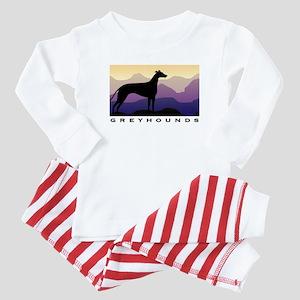 greyhound dog purple mountains Baby Pajamas