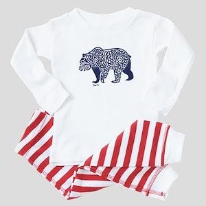 Bear Knotwork Blue Baby Pajamas