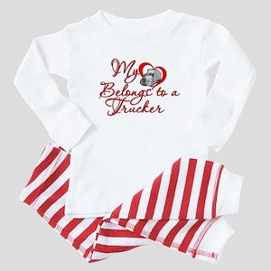 My Heart Belongs to a Trucker Baby Pajamas