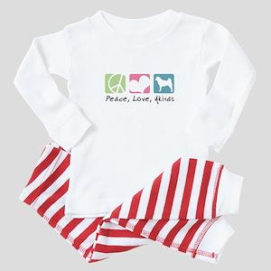Peace, Love, Akitas Baby Pajamas