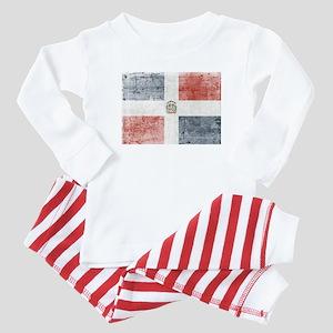 Dominican Republic Distressed Flag Baby Pajamas