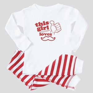 Girl Loves Mustache Baby Pajamas