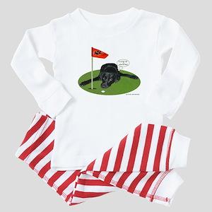 Black Lab Golfer Baby Pajamas