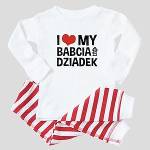 I Love My Babcia and Dziadek Baby Pajamas
