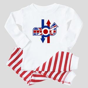 Retro Mod logo and arrows Baby Pajamas