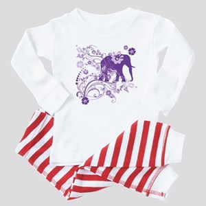 Elephant Swirls Purple Baby Pajamas