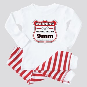 protected by 9mm shield Baby Pajamas