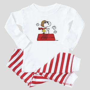 Peanuts Flying Ace Personalized Dark Baby Pajamas