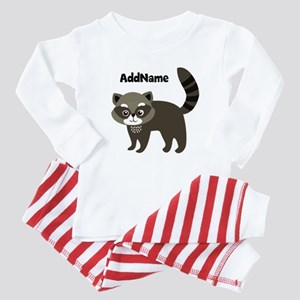 Personalized Name Mr. Raccoon Kids Baby Pajamas