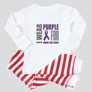 Purple Awareness Ribbon Customized Baby Pajamas