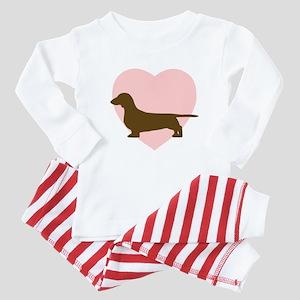 Dachshund Heart Baby Pajamas