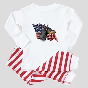 Doberman Flag Baby Pajamas