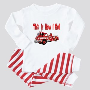 How I Roll- Fire Truck Baby Pajamas