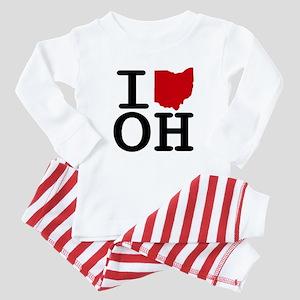 I Heart Ohio Baby Pajamas