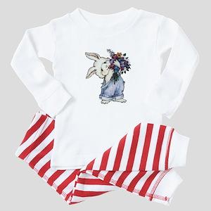 Bunny with Flowers Baby Pajamas
