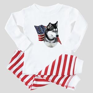 Husky(blk) Flag Baby Pajamas