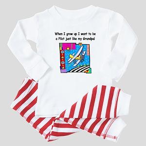 Airplane Pilot Grandpa Baby Pajamas