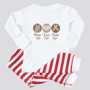Peace Love Cure Pink Ribbon Baby Pajamas Baby Paja