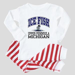 Ice Fish the Upper Peninsula Baby Pajamas