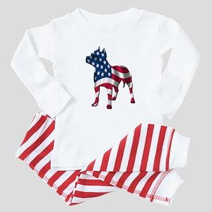 Patriotic Pit Bull Design Baby Pajamas