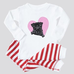 Black Pug Pink Heart Infant Bodysuit