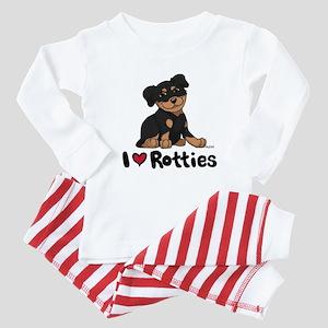 I Heart Rotties 10x10 Baby Pajamas