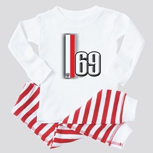 69 Red Whirte Baby Pajamas