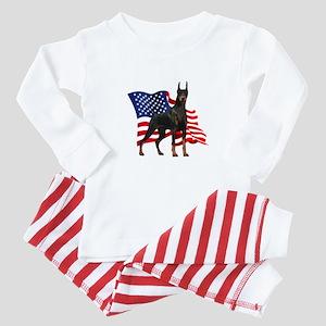 American Flag Doberman Baby Pajamas