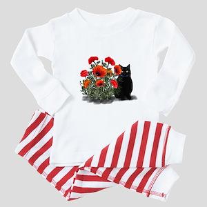 Black Cat with Poppies Baby Pajamas
