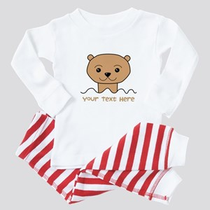 Otter with Text. Baby Pajamas