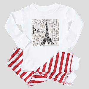 Vintage Paris Eiffel Tower Baby Pajamas