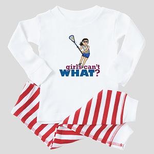 Girl Lacrosse Player in Blue Baby Pajamas