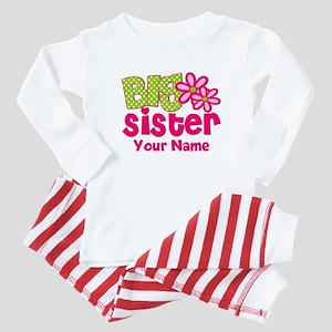Big Sister Pink Green Personalized Baby Pajamas