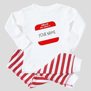 Custom Red Name Tag Baby Pajamas