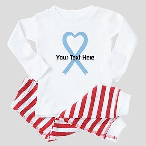 Personalized Light Blue Ribbon Hea Baby Pajamas