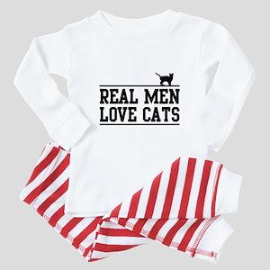Real men love cats Baby Pajamas
