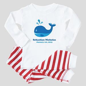 Whale CUSTOM Baby Name Birthdate Baby Pajamas
