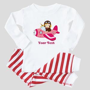 Pink Airplane, Girl Pilot with flowers Baby Pajama