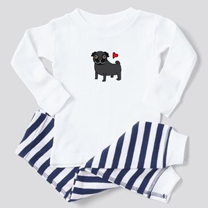 Black Pug Love Toddler Pajamas