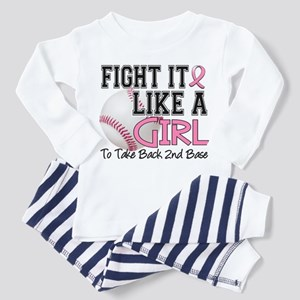 Second 2nd Base Breast Cancer Toddler Pajamas