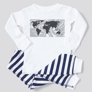 World Outline On Silk Backgrou Pajamas