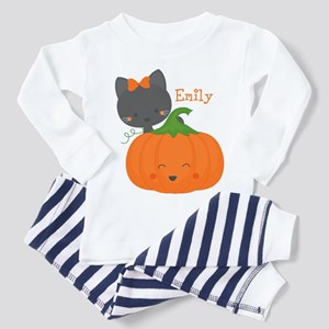 Kitty and Pumpkin Personalized Toddler Pajamas