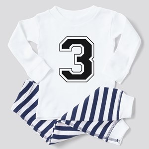 Varsity Font Number 3 Black Toddler Pajamas