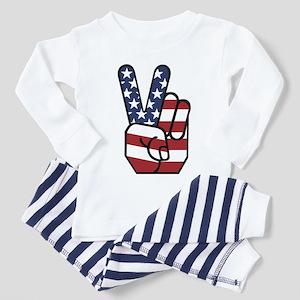 American Flag Peace Hand Toddler Pajamas